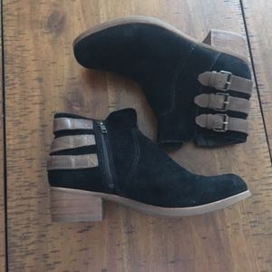 UGG Volta Black Suede Leather Buckle Ankle Booties